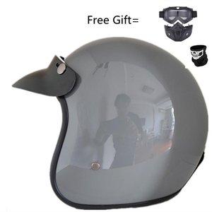 Motorcycle Helmets 1Piece 57-62cm ABS Plastic Helm Motorcross Capacete Half Helmet For Retro Matte Bright Black