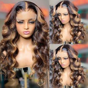 4/27 resalte Wave Brasileño Body Wave 13x4 Frente de encaje Pelucas para el cabello humano para mujeres negras Miel Rubia Rubio Ombre Laceclosure WIG REMY REMY