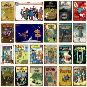 French Cartoon Movie The Adventures of Tintin Metal Segni Vintage Wall Art Art Artigianato Pittura Poster Home Bar Club Cafe Room Decor