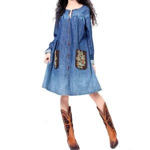 Casual Dresses Original Design Spring Women Vintage Elegant Brief Loose Embroidery 100%Cotton Wash Denim Midi NOO4