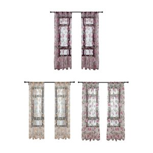 Curtain & Drapes Tulle Floral Window Sheer Polyester Bedroom Home Voile Panel Peony Curtains Indoor Decoration Supplies