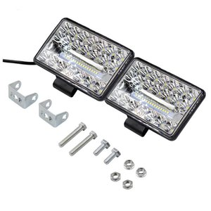 Car Headlights 1 Pair 12-80v Four Inch Square Field Of Vision 20 Bead IP68 Waterproof Led External Headlamp With Reflective Cup Design