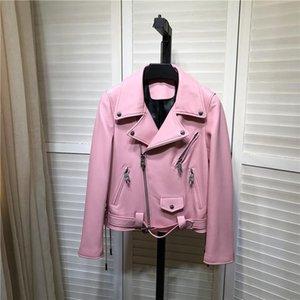 유럽 스타일 여성의 고품질 정품 가죽 자켓 패션 핑크 색상 바이커 코트 B574 가짜