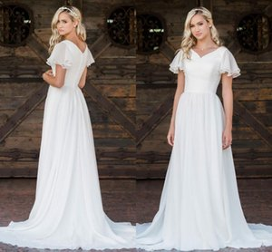 Chiffon Boho Modest Wedding Gowns With Flutter Sleeves V neck Buttons Back Informal Beach Bridal Dresses Bohemian Robes