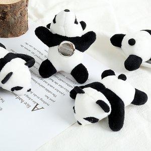 Cartoon three-dimensional panda brooch plush doll ins accessories school bag pendant