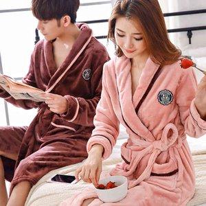 Lovers Coral Fleece Robe Autumn Winter Warm Sleepwear Women Men Thicken Bathrobe Lounge Nightgown Home Clothes M L XL XXL T200110
