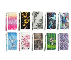 Animal 3D Leather Wallet Cases For Samsung Galaxy A72 5G A02S A32 A12 M02S A52 Lace Flower Bird Panda Cat Tiger Wolf Butterfly ID Card Slot Holder Flip Cover Lanyard