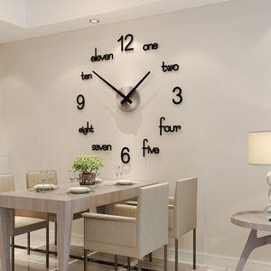 MEISD Quality Acrylic Wall Clock Creative Modern Design Quartz Stickers Watch Black Home Decor Living Room Horloge 1267 V2