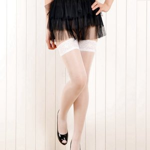 Women Sexy Sheer Lace Stocking Top Silicone Non-slip Band Stay Up Thigh High Stockings Pantyhose lingerie solid long socks lady AAA2253