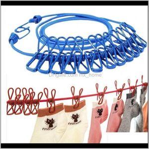 Hangers 185M Clothesline With 12 Clothespins Travel Portable Windproof Elastic Clothes Drying Line Hanger Racks Backyard Outdoor Pkjtx Qxklf
