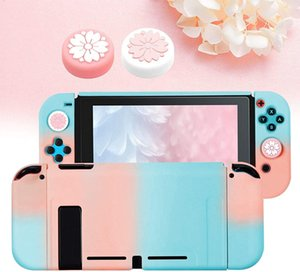 Dockable Case for Switch with 2 Sakura Flower Silicone Thumb Grip Joystick Caps, NS Gradient Hard Skin Protective Cover