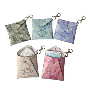 Mask Storage Bag PU Leather Facemask Holder Dustproof Masks Card Cover Girls Keyring Holder Fashion Accessories Marble Printed 8 Design 5958