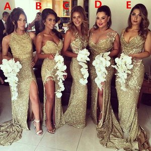 Sparkly Bling Gold Sequined Mermaid Evening Dresses Backless Slit Plus Size Maid Of The Honor Gowns Dress