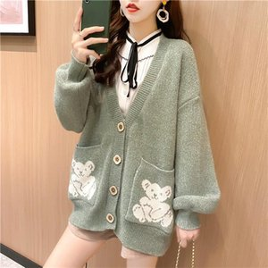 Women's design cardigan clothes new sweater V-neck long sleeve high-end jacquard pocket bear embroidery cardigan cashmere sweater high-end
