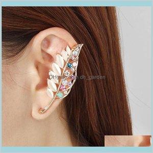 Kristal Rhinestone Opal Yaprak Küpe Klipler Kadınlar için Kemik Klasör Klip Küpe Moda Takı CQAO0 KNC9O