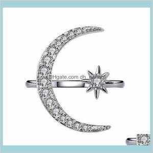 Lujosas gemas naturales Luna y estrella Ajustable White Glod llenado 925 plata esterlina romántica joyería de diamante 0TZCW Anillos de banda B9SE6