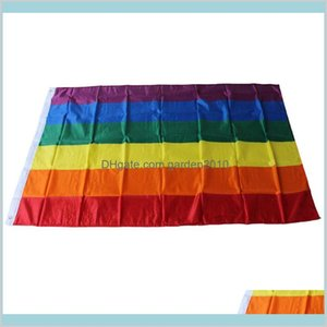 Banner Flags Festive & Party Supplies Home Garden Rainbow Flag 3X5Ft 90X150Cm Lesbian Gay Pride Polyester Lgbt Colorful For Decoration