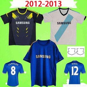 2012 2013 Retro Jerseys de futebol Vintage Hazard Torres Mata Lampard David Luiz Terry 12 13 Uniformes de Camisa de Futebol Clássico Azul Away Terceiro Branco