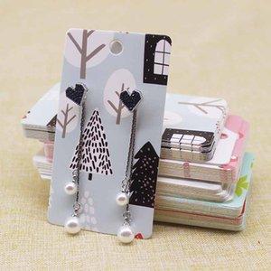 100Pcs Printed dangling earring package Card 5*9cm marbling christmas design longer earring tag card card