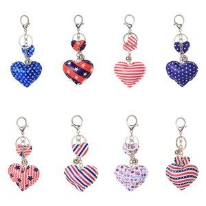 8 colores estrellas de moda y rayas impresión PU cuero amor corazón llavero llavero color cierre pavimento independencia día llavero pendiente 1127 b3