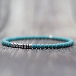 Beaded, Strands Antique 4mm Natural Stone Beads Bracelet Handmade Silver Color Hematite Mens Braclet For Men Hand Jewelry Pulseras Homme
