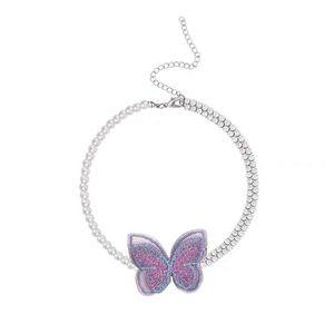 Korean Elegant Cute Purple Butterfly Rhinestone Choker For Women Fashion Pearl Necklace Jewelry Gifts Chains