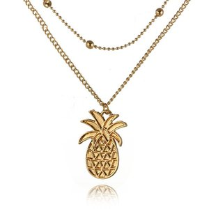 Fashion Multi Layer Pineapple Necklace Choker Bohemia Jewelry Collares De Moda Gold Bead Double Chain Pendant Necklace For Women