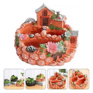 Planters & Pots Creative Design Flowerpot House Shaped Bonsai Pot Garden Decoration