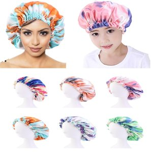 Mommy And Me Satin Bonnet Adjustable Double Layer Sleep Cap Parents Kids Tie dyed Turban Hair Cover Night Hat 28-36cm 6 Colors