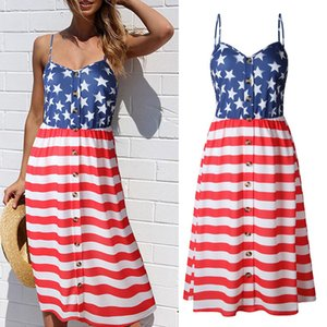 Ladies Sling Midi Dresses Beach Striped Button Vintage Dresses American Flag Independence National Day USA 4th July Panelled Backless Dress