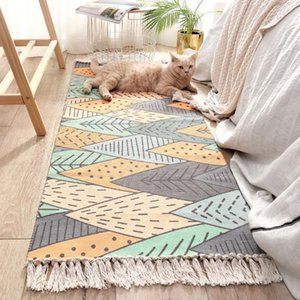Carpets Tassel Home Carpet Handmake Japan Style Bedroom Long Mat 60*150  60*180cm Modern Rug Cotton&linen Decor Bohemia Sofa