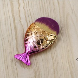 18 Farben 11 cm * 5,5 cm Meerjungfrau Oval Make-up Foundation Pinsel Gold Makeup Set Schönheitskosmetik Erröten Pulver DHB6297