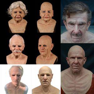 Halloween Mask Horror Latex Vampire Headgear Bald Rotten Face Headgear Party Tricky Headgears Cosplay Decoration Old man Masks HH21-609