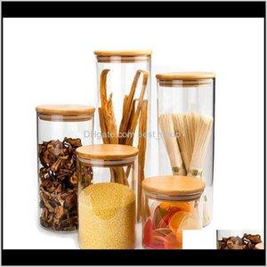 علب التخزين الشفاف Corks تغطية الجرار للرمال السائل الغذاء زجاجات الزجاج Ecofriendly مع غطاء الخيزران Q1UCX YIS0U