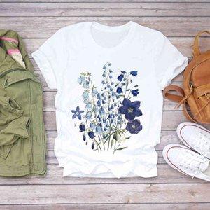 Summer Women Esthetic Flower Dame Clothing Fashion Shirt Printing T-shirts Top T Graphic Women Womens Tea T-shirt