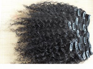 wholesale new star brazilian human hair extensions kinky curly clip in hair weaves natural black color 9 pcs one bundle