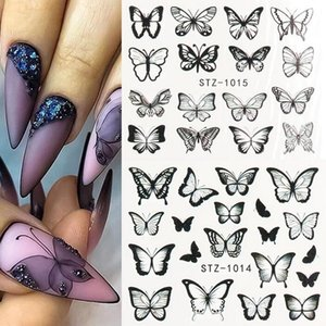 30 Styles Black Butterfly Nail Decals and Stickers Flower Blue Colorful Water Tattoo for Manicures Nail Art Slider Decor