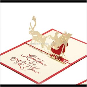 Handmade Santa Ride Christmas Cards Creative Kirigami Origami 3D Pop Up Greeting Card Postcards For Kids Friends Xrimj Fyt6K