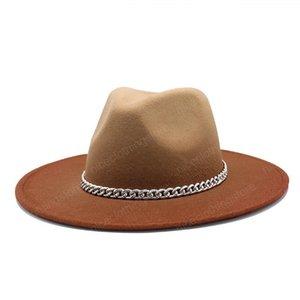 fedora hat gradient color solid belt band chain jazz caps wide brim casual formal church wedding khaki black camel women hats