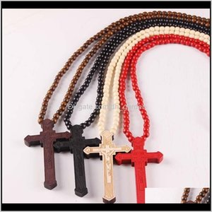 Pendants Drop Delivery 2021 Wooden Cross Pendant Necklaces Christian Religious Wood Crucifix Charm Beaded Chains For Women Men Fashion Jewelr