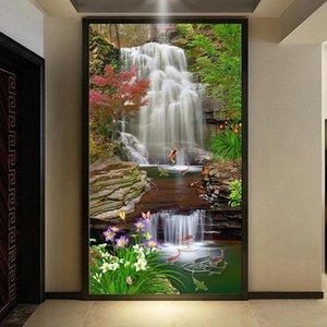 Пользовательские росписи обои 3D классический стиль лесных водопадов ландшафтный стикер стены самоклеящийся водонепроницаемый ванная комната обои