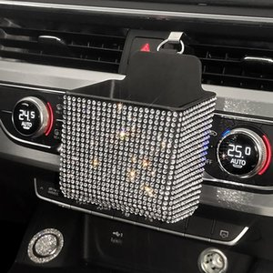Car Organizer Air Outlet Pocket Rhinestone Conditioning Storage Box Bling Interior Decoration Vent Mobile Phone Holder