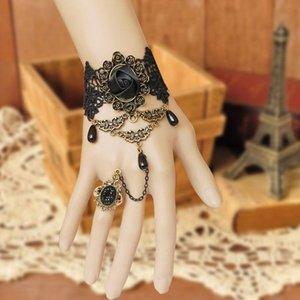 Women Masked Ball Accessories Retro Charm The Queen Fashion Victorian Dress Costume Gothic Black Rose Lace Lolita Bracelet Metal Bracelets