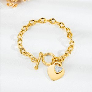 316L stainless stee rose gold hearts chain bracelet set with CZ diamond