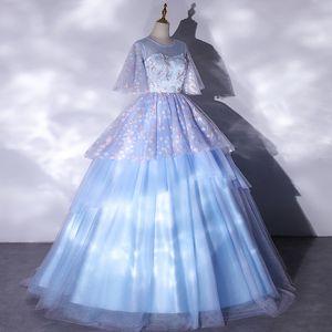 light blue small flowers veil ruffle ball gown Medieval Renaissance Gown queen cos Victorian dress  Antoinette  Belle ball