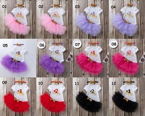 INS Baby 1st Birthday 2nd Clothing Set Tutu Skirt With Bow Romper Crown Headband 3pcs For Girl Photography Dress Halloween Princess Party Clothe