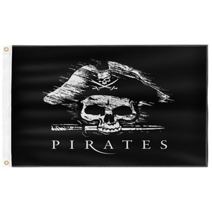 Davy Jones Pirate 3X5FT Black Flags Outdoor 150x90cm Banners 100D Polyester High Quality Vivid Color Two Brass Grommets GWD10506