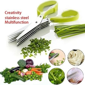 Stainless Steel Cooking Tools Kitchen Accessories Knives 5 Layers Sushi Shredded Scallion Cut Herb Spices Scissors WLL857