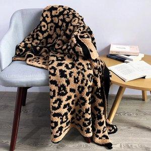 Delicate Knitted Leopard Print Blankets Winter Warm Faux Fur Microfiber Stich Plaid Bedspread Fluffy Adult Blanket Throw