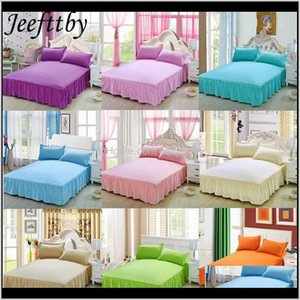 Home Textiles Embossing Skirt 1Pcs Nonslip Protective Cover Bed Linen Bedding Set Adult Solid Color Sheets Bedspread Nddzj 15Jsm